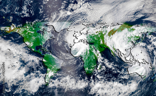 Papiers peints Nasa Hurricane over the green world map silhouette, elements of this image furnished by NASA. Concept of global climate changing.