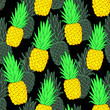 Colorful pineapple vector seamless pattern for kitchen design, wallpapers, fabrics, textiles, covers, wrappings, etc. Black background. - 192122415