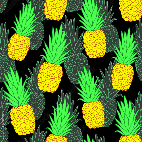 Wall Mural Splashbacks Photo Wallpaper Acrylic Colorful Pineapple Vector Seamless Pattern For Kitchen Design Wallpapers Fabrics Textiles