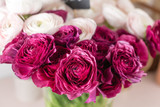Persian buttercup. Bunch colorful and pale pink ranunculus flowers light background. Glass vase on pink vintage wooden table. - 192123002