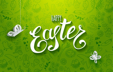 Template vector card with paper art butterflies. Handwriting greetings Happy Easter. Green background. Lettering, calligraphy. Paper cut out elements and handdrawn Holidays doodles