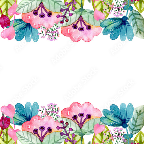 Watercolor greeting card with cute fantasy flowers.