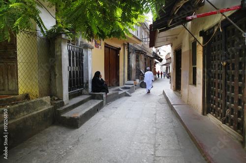 In de dag Zanzibar People in Stone Town. Zanzibar