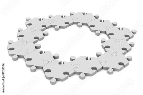 puzzle on white background. Isolated 3D illustration © Sergey Ilin
