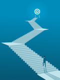 Businessman Walking up Stairs to Goal, Business Concept Simple Vector of Overcome Obstacles to Success. - 192134447