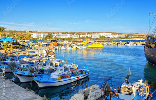Poster Cyprus Ship and fishing boats in harbor of Ayia Napa, Cyprus.
