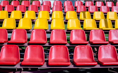 Plastic seat spectator stands for the football stadium