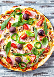 Pizza with Ham and Mushrooms - 192139221