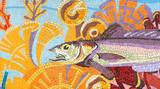 Poissons art déco en mosaïque