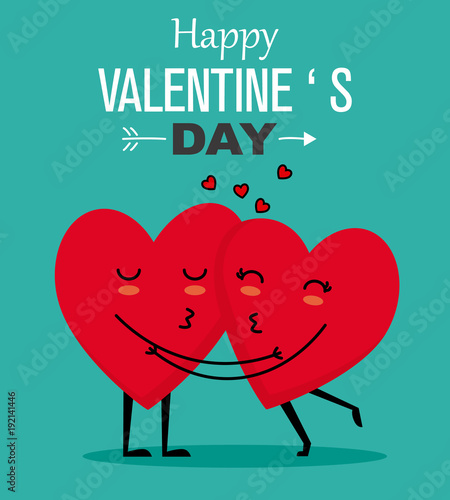 Funny Valentines card. couple of hearts kissing