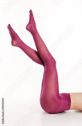 Cropped picture of gorgeous sexy lady in elegant colorful tights