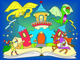 Color fairy open book tale concept kids illustration with evil dragon, brave warrior and magic castle.