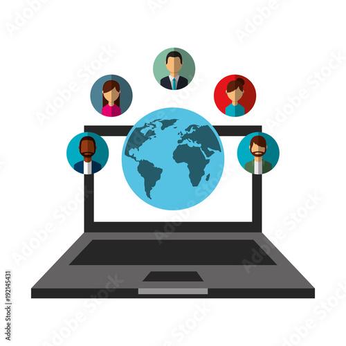 laptop world people communication social media network vector illustration