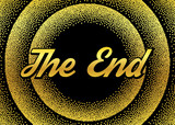 The gold End screensaver in retro stypple style