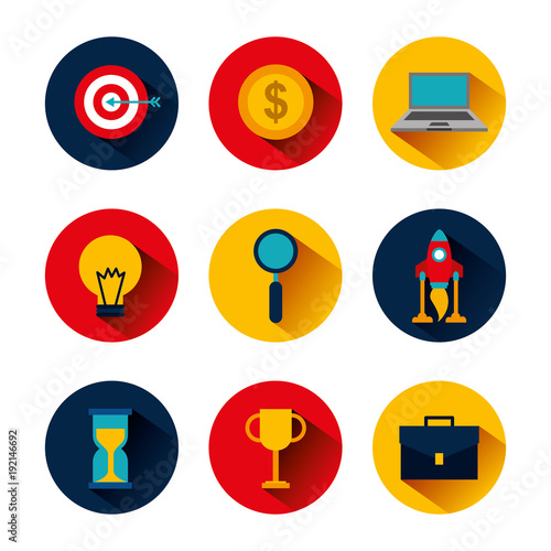 Fotobehang Hoogte schaal collection icons business idea money clock trophy laptop target vector illustration