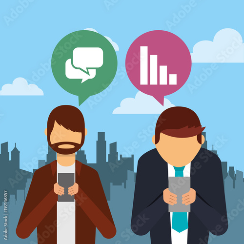 people using smartphone device with speech bubbles and city background vector illustration