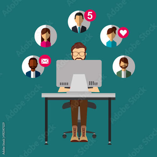 Fotobehang Hoogte schaal bearded man sitting in desk with laptop people social media vector illustration