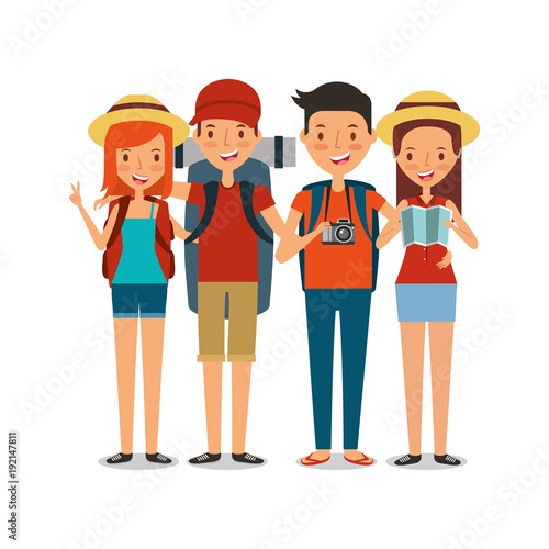 couples happy travelers tourist vacation people icon vector ilustration