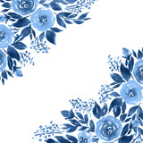 Indigo blue watercolor roses. Monochrome floral template - 192150638