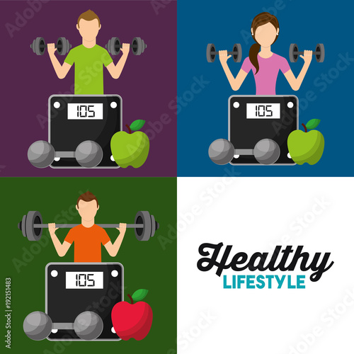 healthy lifestyle set people weight scale fruit vector illustration