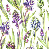 Seamless pattern Hyacinths flowers and leaves. Spring watercolor illustration in violet shades. Botanical texture. Fresh and bright design. Can be used for a poster, printing on fabric. - 192152271