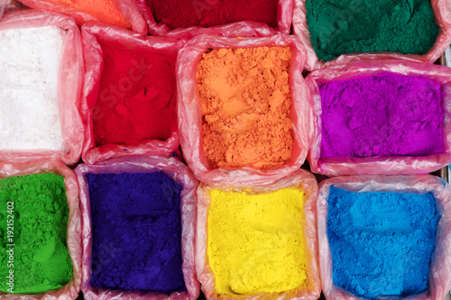 Colorful rangoli powder for sale on Kathmandu street market, Nepal - 192152402