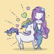 Little mermaid with unicorn art cartoon