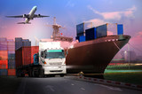Transportation, import-export and logistics concept, container truck, ship in port and freight cargo plane in transport and import-export commercial logistic, shipping business industry - 192154007