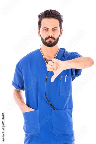 a nurse thumbs down