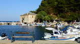 THASSOS, GREECE- September 13, 2015: Harbor with boats in the Golden Beach - 192155018