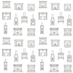 Seamless Pattern with Fireplaces.