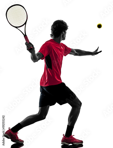 Fotobehang Tennis one caucasian hispanic tennis player man in studio silhouette isolated on white background