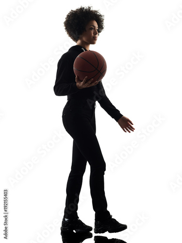 Aluminium Basketbal one mixed race african young teenager girl woman basketball players in studio shadow silhouette isolated on white background