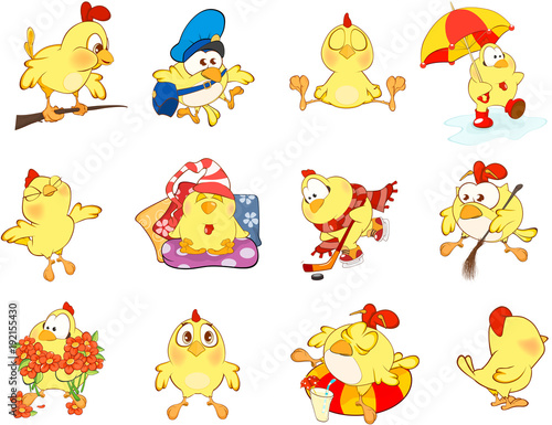 Fotobehang Babykamer Set of Cute Chickens in Different Poses for you Design. Cartoon Character