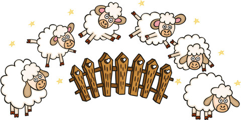 Set of sheeps with a fence