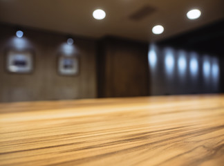 Table top Counter Bar Blur Interior with lighting