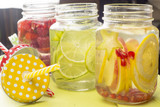Water with fruits in jar
