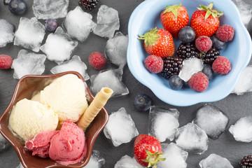 Ice cream and fresh fruits