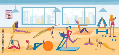 Young women doing exercises, yoga poses, running, fitness in the gym. Vector flat interior illustration.
