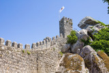 People walking on the walls of the Castle of the Moors in Sintra, Portugal - 192164476