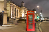 Red telephone box and the National Gallery in London, UK - 192164490