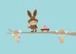 Bunny Handcart Easter Eggs Retro DIN - 192168482
