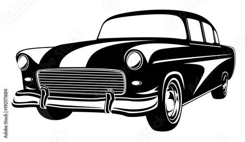 Retro Muscle Car Vector Illustration Vintage Car Old Mobile