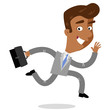Vector illustration of a smiling asian cartoon businessman with a briefcase running to work isolated on white background - 192174425