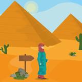 Egyptian pyramids on desert - 192174884