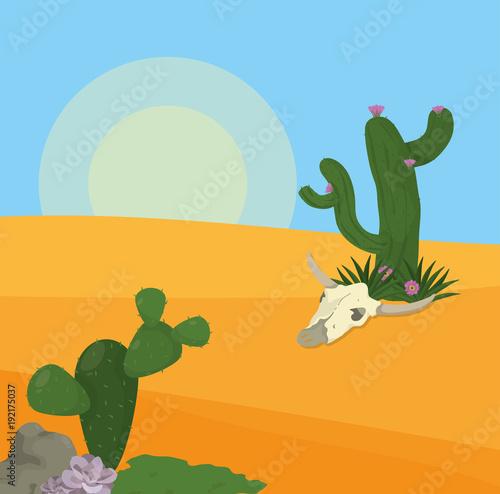 Fotobehang Pool Desert landscape cartoon