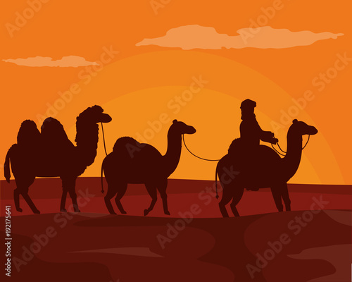 Foto op Plexiglas Bruin Arab with camels on desert