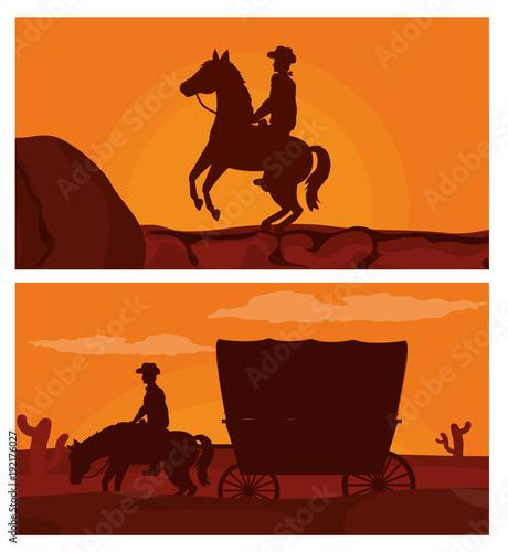 Fotobehang Bruin Cowboy on horse silhouette