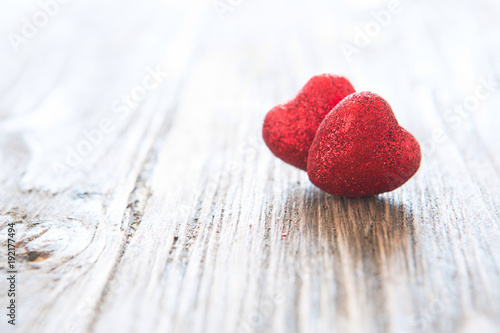 Valentine's day red hearts on wooden background. Valentine's day holiday concept