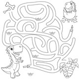 Help dinosaur find path to nest. Labyrinth. Maze game for kids. Black and white vector illustration for coloring boo
